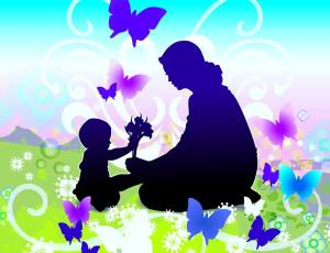 Mother, Child, Butterfly image
